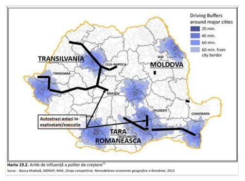Arii de influenta a polilor de crestere vs infrastructura autostrazi  in exploatare/ executie  in jurul marilor orase