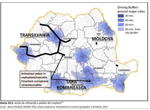transport rutier | Arii de influenta a polilor de crestere vs infrastructura autostrazi  in exploatare/ executie  din fofnduri nerambursabile in jurul marilor orase