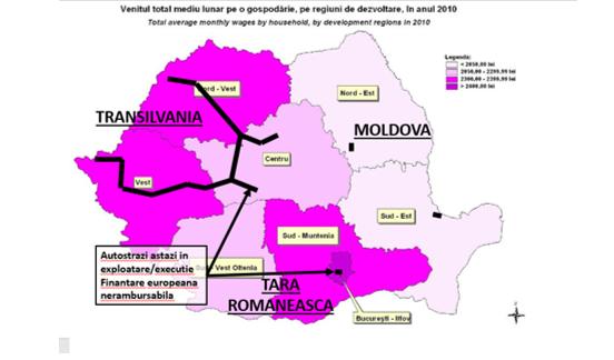 venitul mediu global pe gospodarie versus autostrazi in exploatare executie 2010 |autostrazi Romania cu finantare nerambursabila| harta