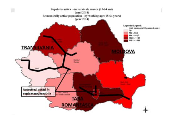 Transport rutier|  Harta autostrazi Romania |regiuni care au beneficiat de autostrazi cu fonduri europene nerambursabile