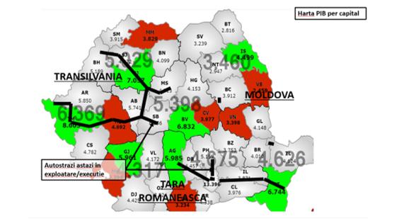Transport rutier- harta cu distributia neechilibrata a infrastructurii de autostrazi din Romania raportat la populatia activa