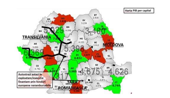 harta PIB per capita vs autostrazi in Romania in exploatare/ executie