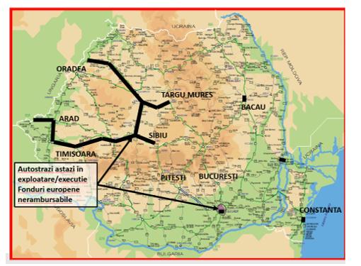 harta autostrazi in Romania azi - exploatare/ executie FOnduri nerambursabile | Grup Infrastructura